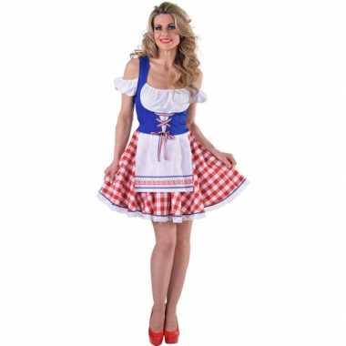 Goedkoop tiroler jurkje rood wit blauw carnavalskleding