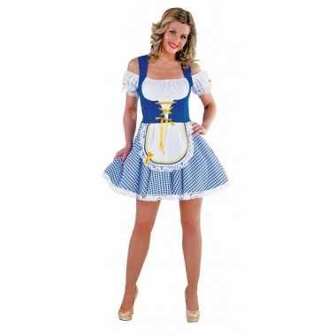 Goedkoop tiroler verkleedjurkje blauw dames carnavalskleding