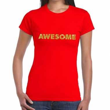Goedkoop toppers awesome goud glitter tekst t shirt rood dames carnav