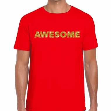 Goedkoop toppers awesome goud glitter tekst t shirt rood heren carnav