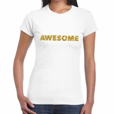Goedkoop toppers awesome goud glitter tekst t shirt wit dames carnava