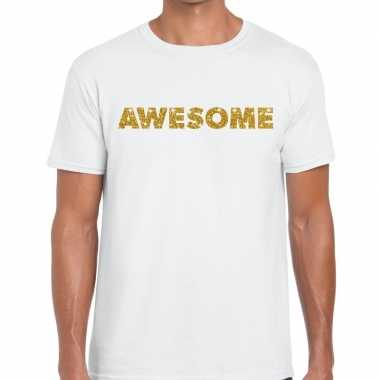 Goedkoop toppers awesome goud glitter tekst t shirt wit heren carnava