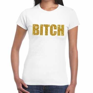 Goedkoop toppers bitch glitter tekst t shirt wit dames carnavalskledi