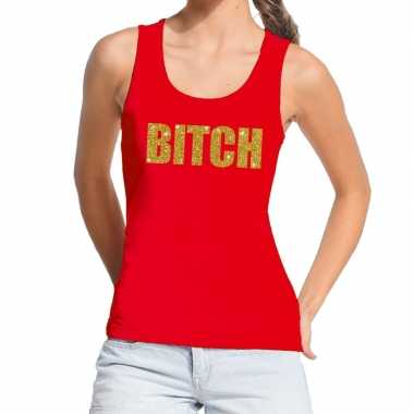 Goedkoop toppers bitch glitter tekst tanktop / mouwloos shirt rood da