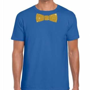 Goedkoop toppers blauw fun t shirt vlinderdas glitter goud heren carn