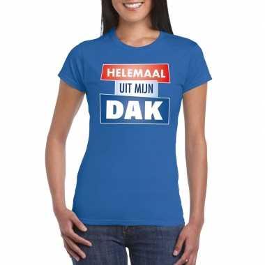 Goedkoop toppers blauw helemaal uit mijn dak t shirt dames carnavalsk