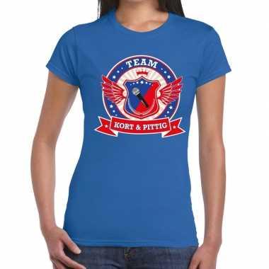 Goedkoop toppers blauw kort pittig team t shirt dames carnavalskledin