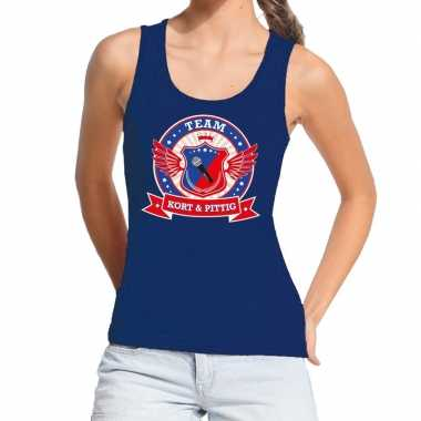 Goedkoop toppers blauw kort pittig team tanktop / mouwloos shirt dame