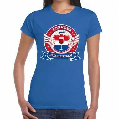 Goedkoop toppers blauw toppers drinking team t shirt dames carnavalsk