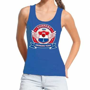 Goedkoop toppers blauw toppers drinking team tanktop / mouwloos shirt