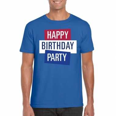Goedkoop toppers blauw toppers happy birthday party heren t shirt off