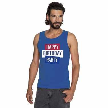 Goedkoop toppers blauw toppers happy birthday party mouwloos shirt he