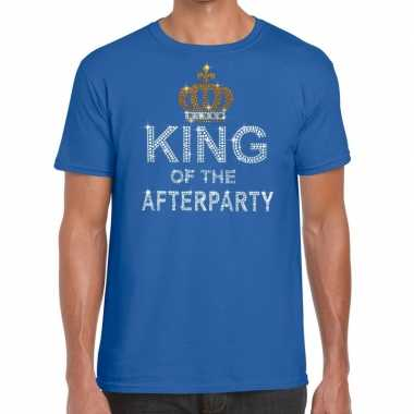 Goedkoop toppers blauw toppers king of the afterparty glitter t shirt