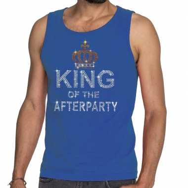 Goedkoop toppers blauw toppers king of the afterparty glitter tanktop