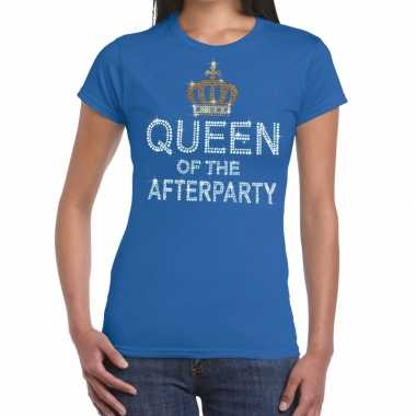 Goedkoop toppers blauw toppers queen of the afterparty glitter t shir