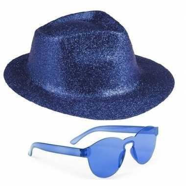 Goedkoop toppers blauw trilby glitter party hoedje blauwe zonnebril c