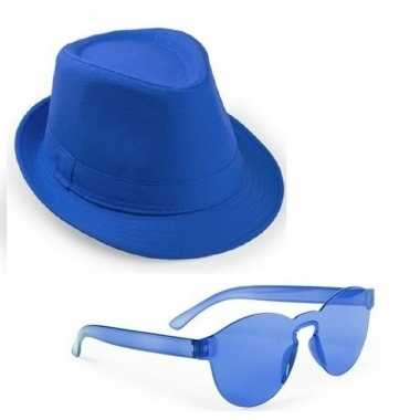 Goedkoop toppers blauw trilby party hoedje blauwe zonnebril carnavals