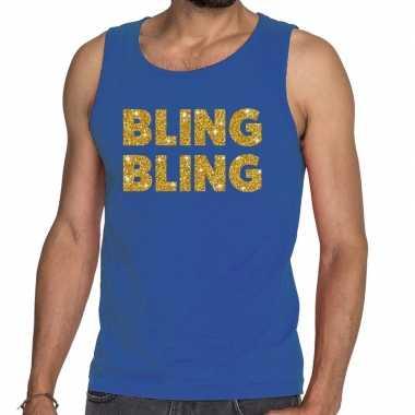 Goedkoop toppers bling bling glitter tanktop / mouwloos shirt blauw h