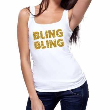 Goedkoop toppers bling bling glitter tanktop / mouwloos shirt wit dam