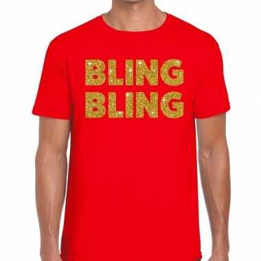 Goedkoop toppers bling bling glitter tekst t shirt rood heren carnava