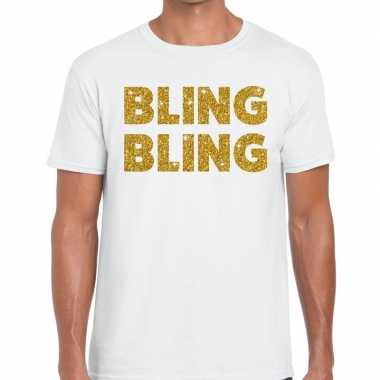 Goedkoop toppers bling bling glitter tekst t shirt wit heren carnaval