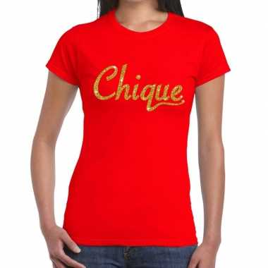 Goedkoop toppers chique goud glitter tekst t shirt rood dames carnava