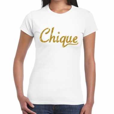 Goedkoop toppers chique goud glitter tekst t shirt wit dames carnaval