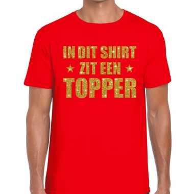 Goedkoop toppers dit shirt zit een topper glitter tekst t shirt rood