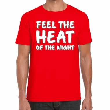 Goedkoop toppers feel te heat of the night t shirt rood heren carnava
