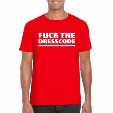 Goedkoop toppers fuck the dresscode heren t shirt rood carnavalskledi