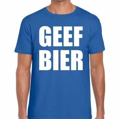 Goedkoop toppers geef bier heren t shirt blauw carnavalskleding