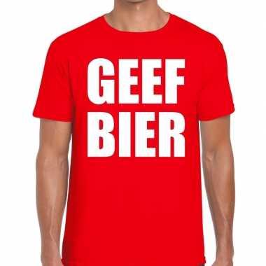 Goedkoop toppers geef bier heren t shirt rood carnavalskleding