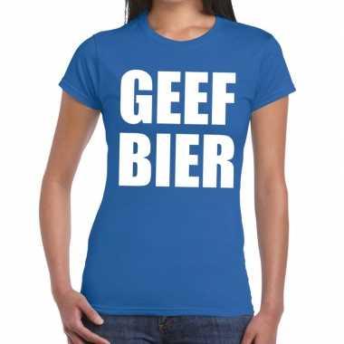 Goedkoop toppers geef bier tekst t shirt blauw dames carnavalskleding