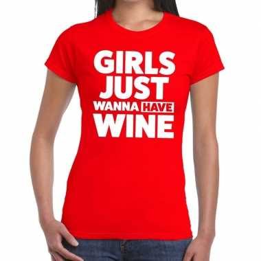 Goedkoop toppers girls just wanna have wine tekst t shirt rood dames