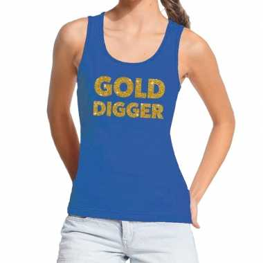 Goedkoop toppers gold digger glitter tanktop / mouwloos shirt blauw d