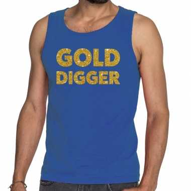 Goedkoop toppers gold digger glitter tanktop / mouwloos shirt blauw h