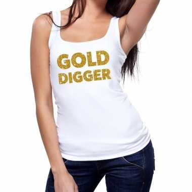 Goedkoop toppers gold digger glitter tanktop / mouwloos shirt wit dam