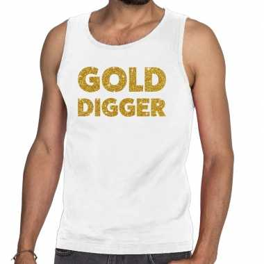 Goedkoop toppers gold digger glitter tanktop / mouwloos shirt wit her