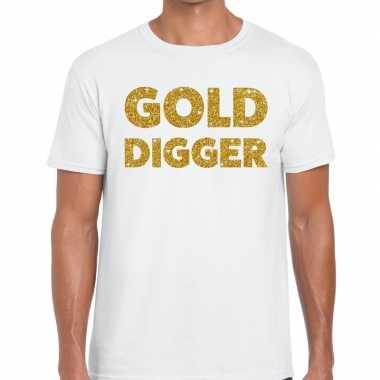 Goedkoop toppers gold digger glitter tekst t shirt wit heren carnaval