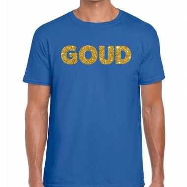 Goedkoop toppers goud glitter tekst t shirt blauw heren carnavalskled