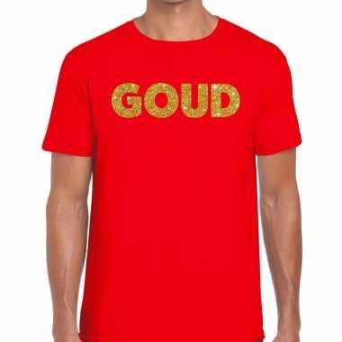 Goedkoop toppers goud glitter tekst t shirt rood heren carnavalskledi