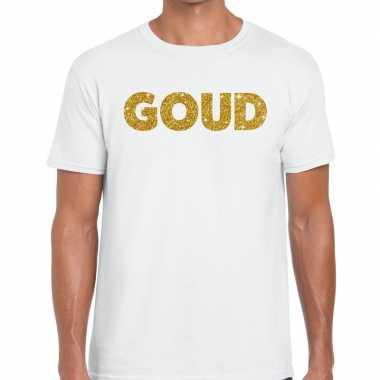 Goedkoop toppers goud glitter tekst t shirt wit heren carnavalskledin