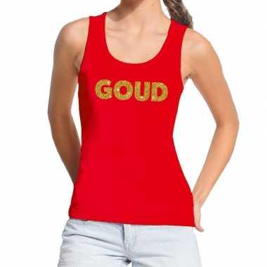 Goedkoop toppers goud glitter tekst tanktop / mouwloos shirt rood dam