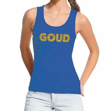 Goedkoop toppers goud gouden glitter tanktop / mouwloos shirt blauw d