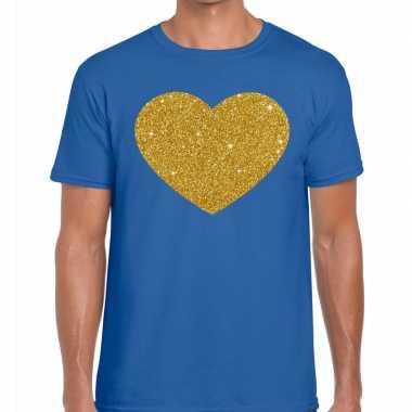 Goedkoop toppers gouden hart glitter fun t t shirt blauw heren carnav