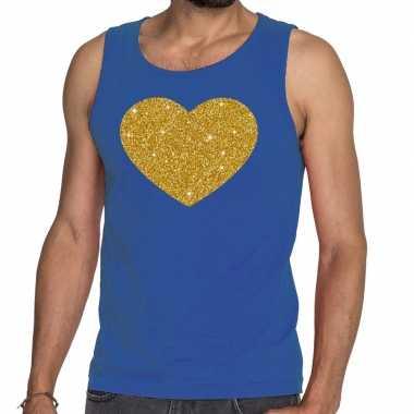 Goedkoop toppers gouden hart glitter tanktop / mouwloos shirt blauw h