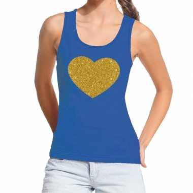 Goedkoop toppers gouden hart gouden glitter tanktop / mouwloos shirt