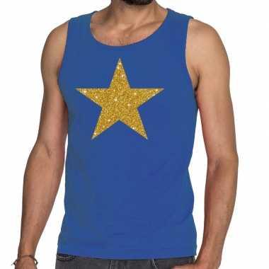 Goedkoop toppers gouden ster glitter tanktop / mouwloos shirt blauw h