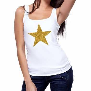 Goedkoop toppers gouden ster glitter tanktop / mouwloos shirt wit dam
