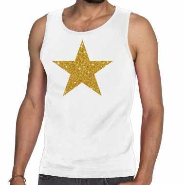 Goedkoop toppers gouden ster glitter tanktop / mouwloos shirt wit her